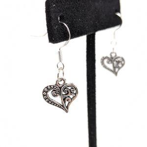 Tibetan silver chandelier heart earrings